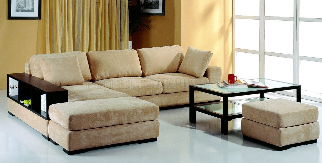 beige microfiber sectional sofa with 2 stools & bookcase SRITAW