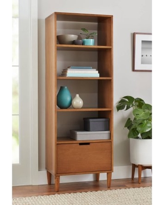 Better Homes and Gardens Flynn Mid century modern bookcase with drawer, RBLCCDJ