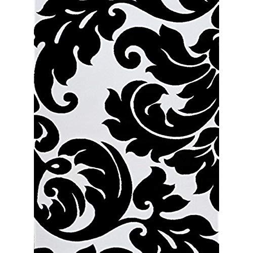 Black and white carpets 3459 black and white damask 7u002710 x 10u00276 modern abstract carpet rug RRGIELT