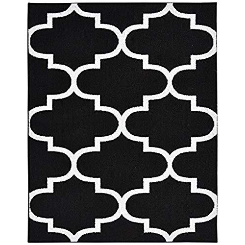 Black and white carpets Garland carpet large four-pass carpet, 8 x 10, black / white IUJCETA