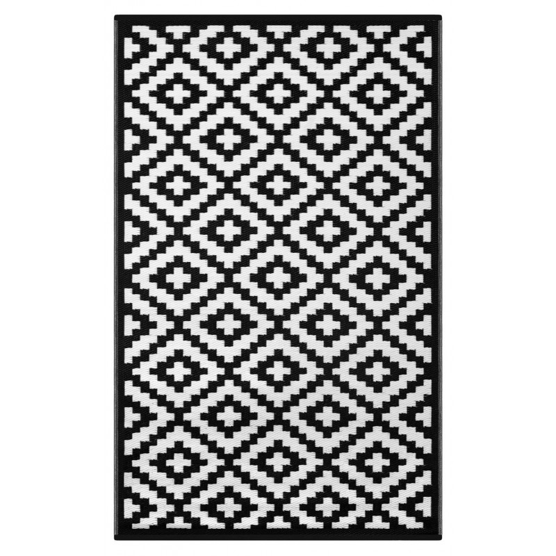 Black and white carpets Nirvana black and white, light indoor / outdoor reversible plastic carpet KGALAGO