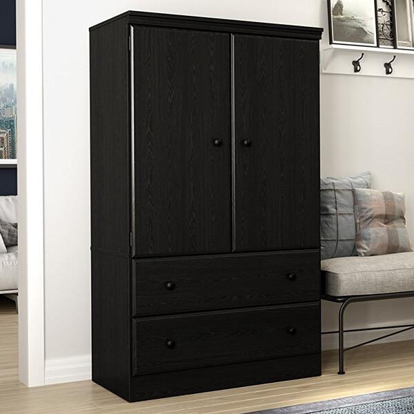 black cabinet South Shore Morgan 2-door cabinet with drawers, black oak ADIYUIP