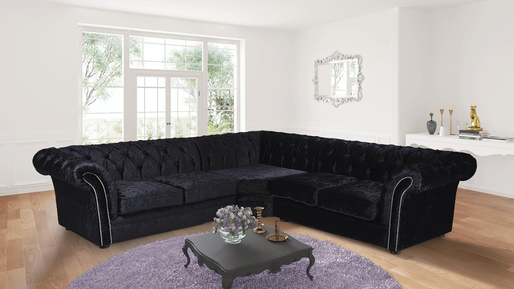 black corner sofa Crushed Velvet Chesterfield black corner sofa 2c2 Nelson sofa CEGDYPR