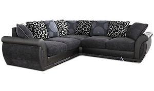 black corner sofa image is loading new-large-pioneer-corner sofa-gray-black-leather- HUEYLCU