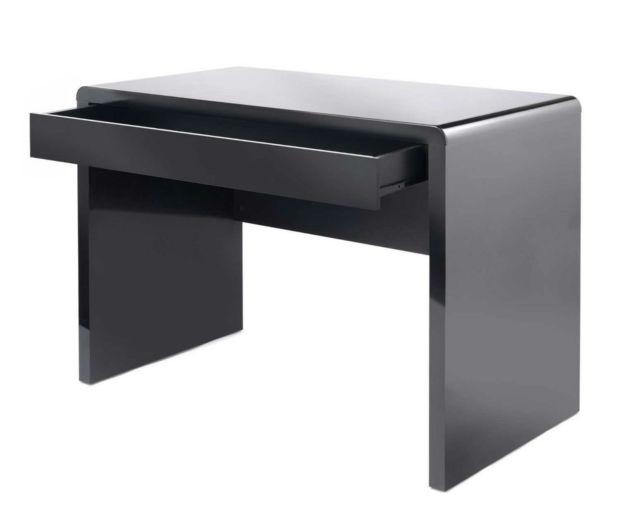 black desk black computer desk wood glossy home office table workstation laptop PC JDHZUOO