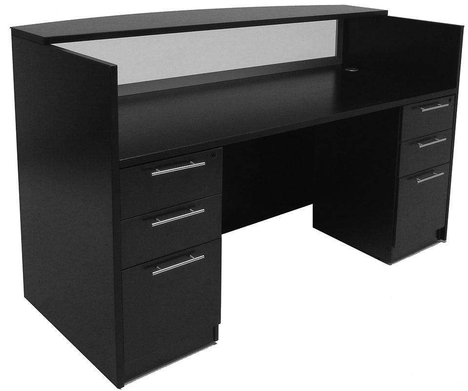 black desk black reception counter with frosted glass pane DKKWWJR