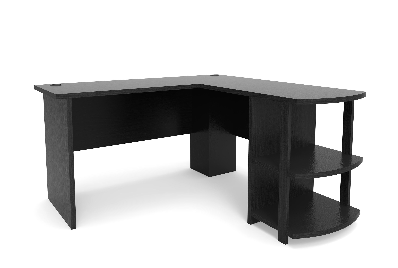 black desk Kristen corner computer desk in L-shape in black QPASHRW