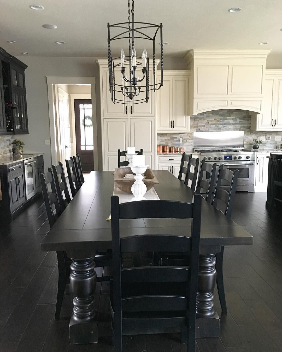 black dining table modern country kitchen black and white with long dining table |  see SOOGOES