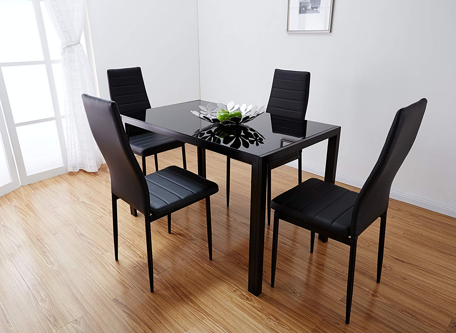 black dining table black glass dining table with 4 artificial leather chairs brand new YBZAZOP