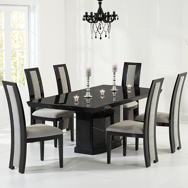 black dining table Kamila black marble dining table with 6 chairs Robson Furniture black UUZVMKE