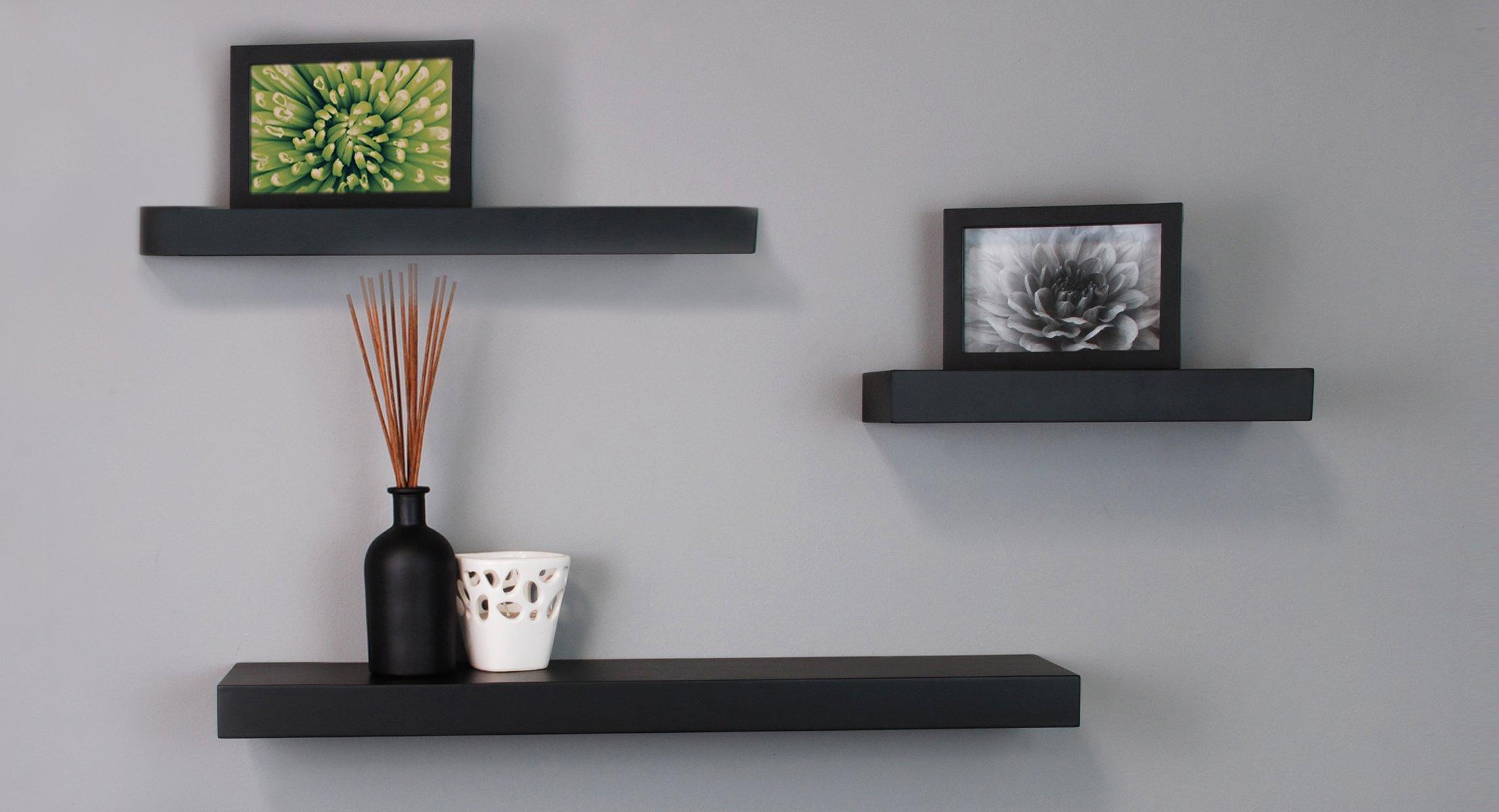 black floating wall shelves by kiera Grace FJZEMVB