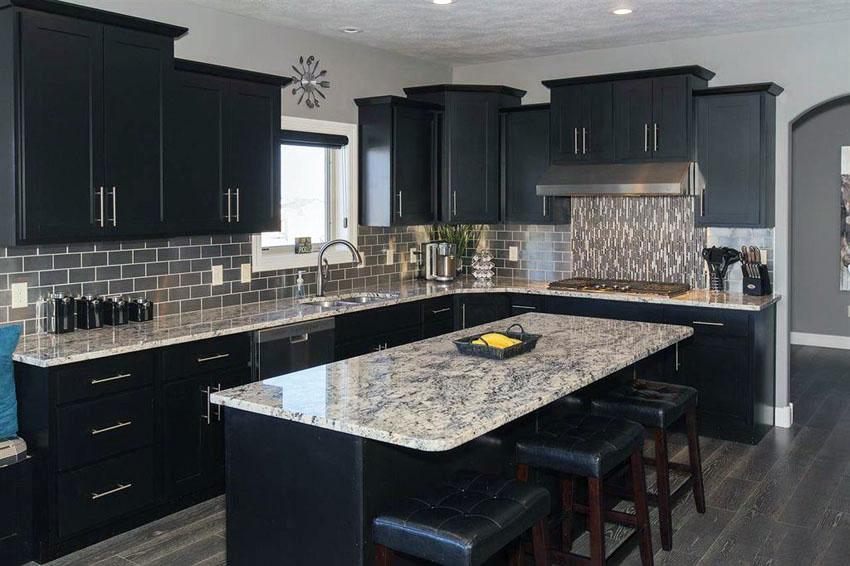 black kitchen cabinets modern kitchen with black cabinets, island and giallo verona granite countertops JKOMEIY