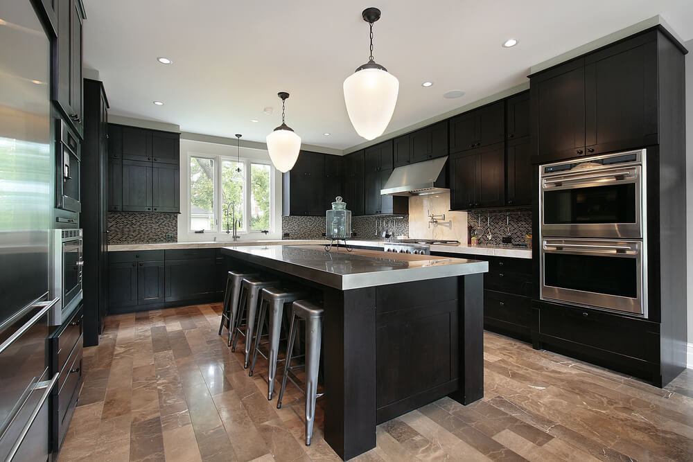 black kitchen cabinets GZWQSCY