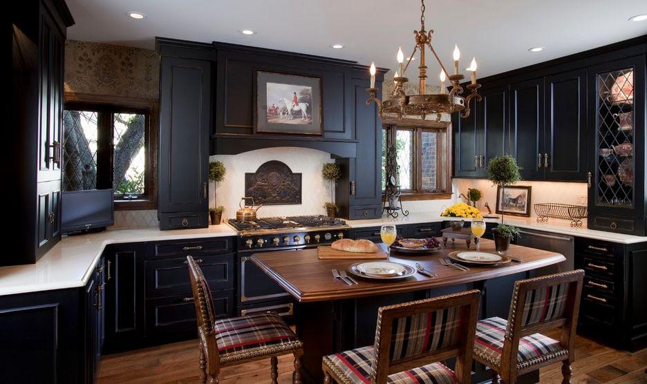 black kitchen cabinets traditionally black.  KTKSJQV
