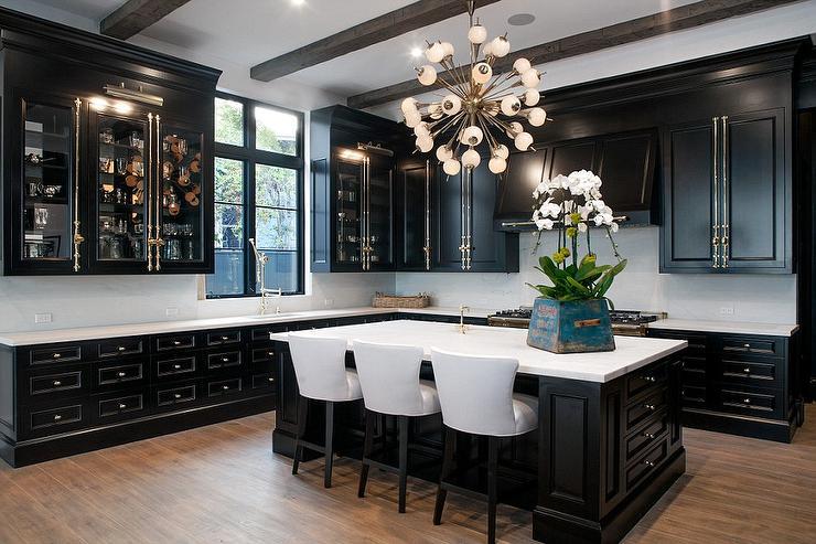 black kitchen cabinets with cream colored brass screws DDXBQQV