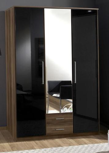 black wardrobe dresden 3 door 2 drawers german wardrobe gloss black and walnut (136484) JGZQEMM