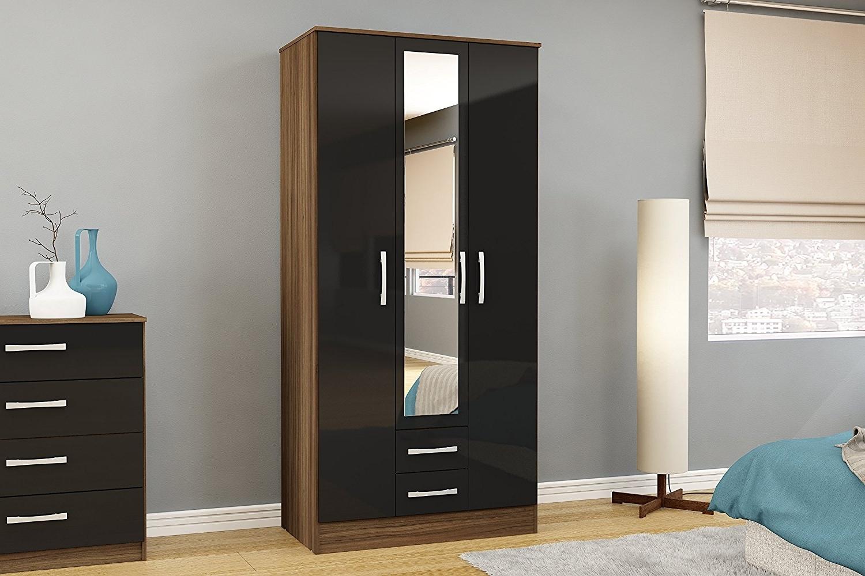 black wardrobe fashionable Birlea Lynx 3-door 2-drawer wardrobe with mirror - high XQCFPJU