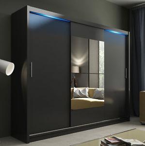 black wardrobe picture is loading wardrobe-kola-01-250-sliding-door-mirror-curtain-TZCRPQU