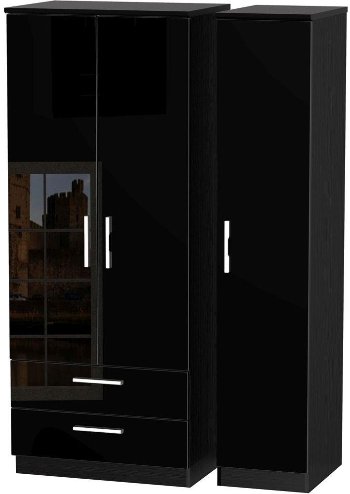 black wardrobe Knightsbridge high-gloss black 3-door 3-drawer triple wardrobe IAUMACE