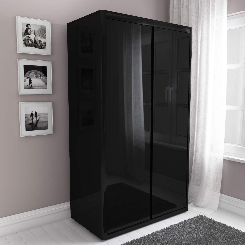 black wardrobe lexi black high-gloss double cabinet QCOYAXD