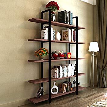 Bookcase Tribesigns 5 tier bookcase, vintage industrial style bookcase 72 u0027u0027 hx 12 TPDHPVV