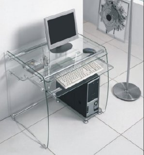 Boxey clear glass computer desk ATVBMDF