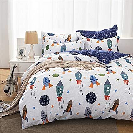 brandream Boys Galaxy Space Bedding Set Twin Size Children's Bedding Set 100% CYRQOLB