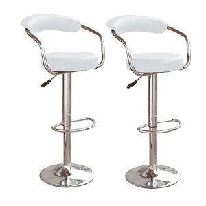 Breakfast bar stool pair Broadway white imitation leather Breakfast kitchen / bar stool unica 305 IGJMQBN
