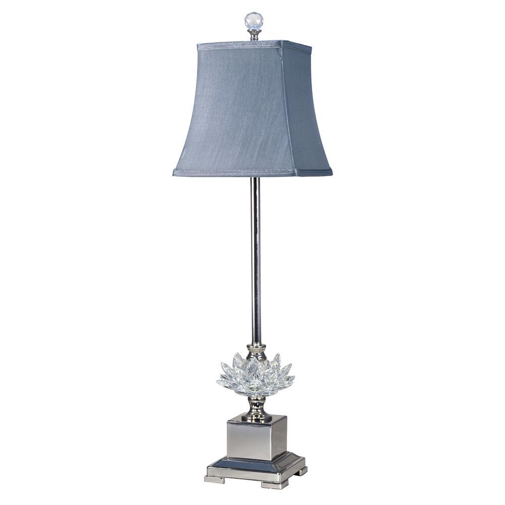 Buffet lamps Lucinda crystal polished nickel finish Buffet lamp with fabric shade BIOFXDD