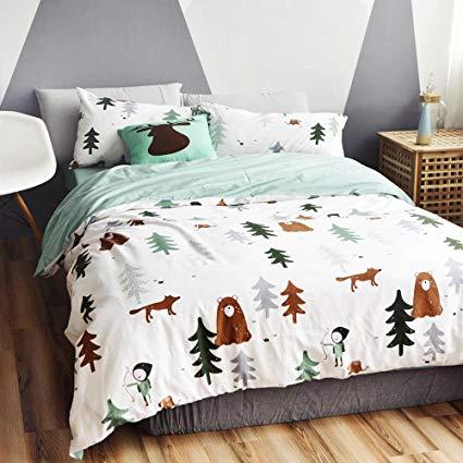 bulutu siberia forest theme cotton us queen children's bedding collections (1 duvet IJUWAKV