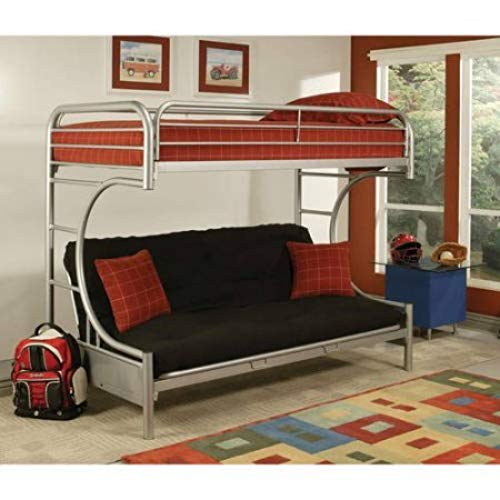 Bunk bed couch Eclipse Twin over full futon bunk bed, silver CJWFRGZ