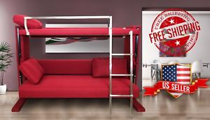 Bunk bed couch image is loading convertible-sofa-bunk-bed-space-saving-furniture-converting- QZILUQS
