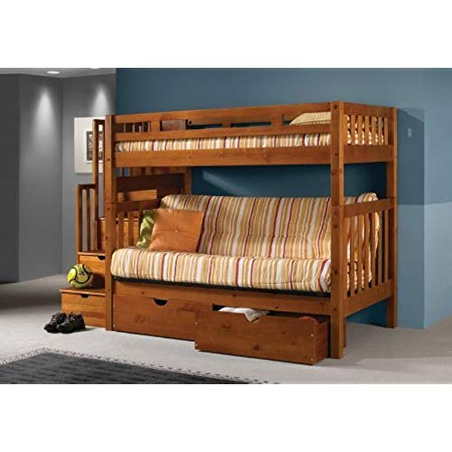 Bunk bed couch loft bed twin over full futon Mission honey stair bunk bed with drawers WCXHCWQ