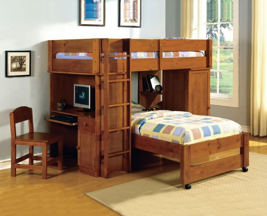 Bunk beds with a desk Dark walnut bunk bed with a computer desk.  UHMIWWQ