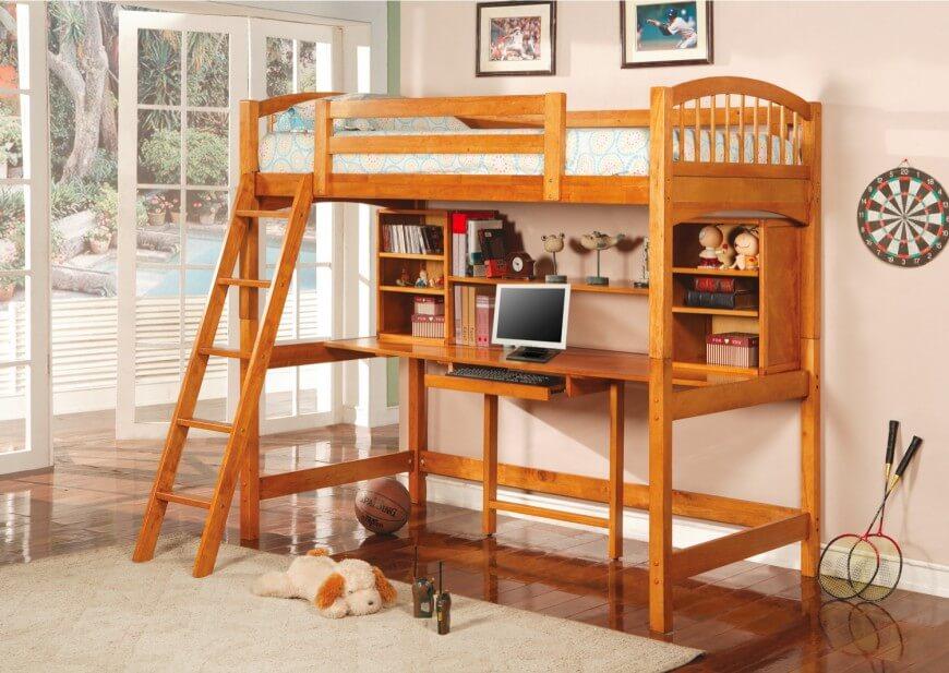 Bunk beds with desks hereu0027s another loft bed made of fine wood with a range of shelf options EQOMVZR
