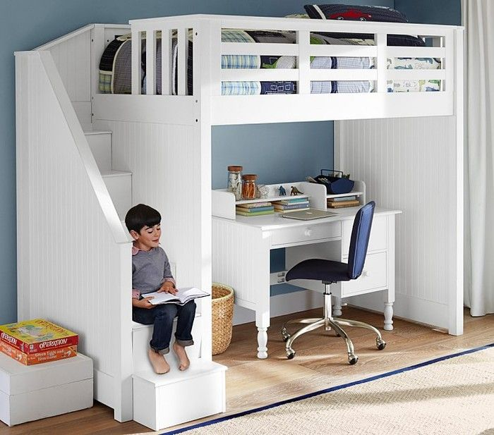Bunk beds with desk modern children bunk beds with desk Catalina stair loft bed, charcoal wnqfezd XYLTCWY