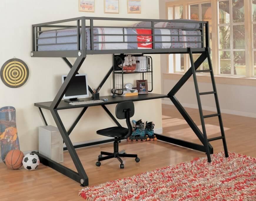 Bunk beds with desks This metal scissor-framed bunk bed has an ultra-modern look, with gunmetal NMNIJOH gun
