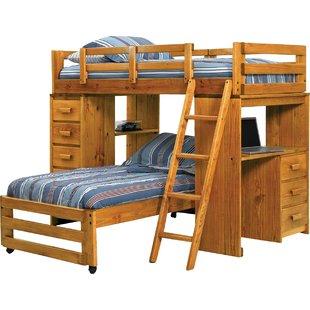 Bunk beds with desks Double L-shaped bunk bed QDJZZTR