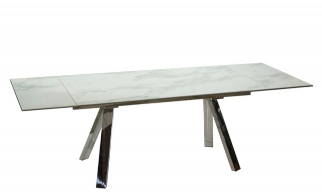cantania - 160cm extendable dining table made of white marble ceramic top IFAZBZJ