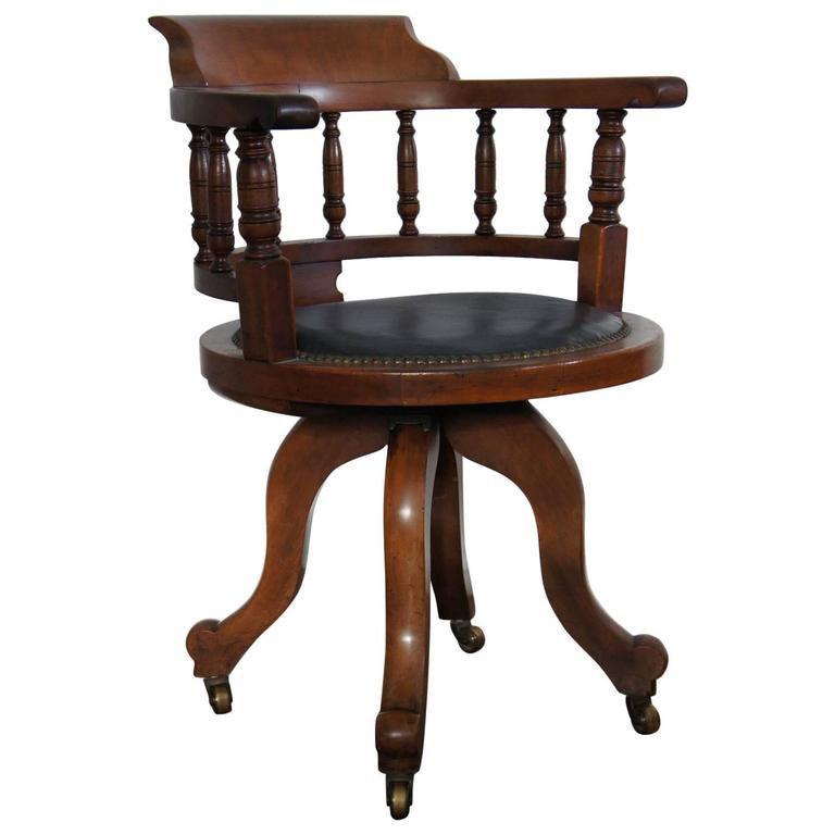 Captains Chair Antique Victorian Walnut Captainu0027s Chair Desk Chair with Leather Seat for JBNUPWD