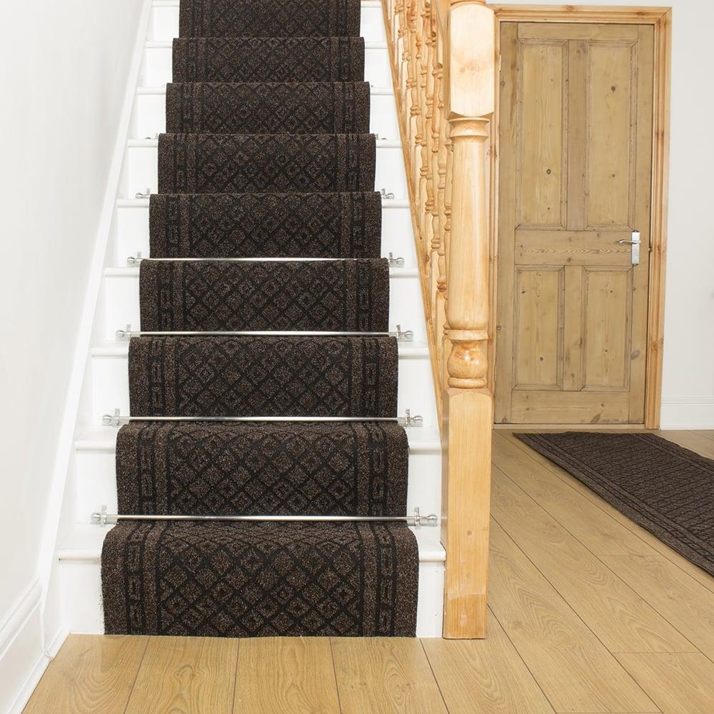 Carpet runner dark brown stair runner carpet Conga NQAVREN