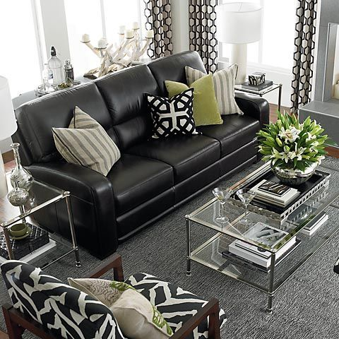 casual and comfortable living ideas with black leather sofa YQLCTOW