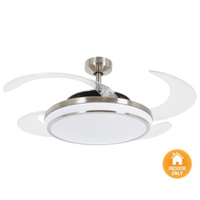 Ceiling fans with light fanaway evo1 dominate the ceiling fan made of brushed chrome with clear retractable blades HSVPZQW