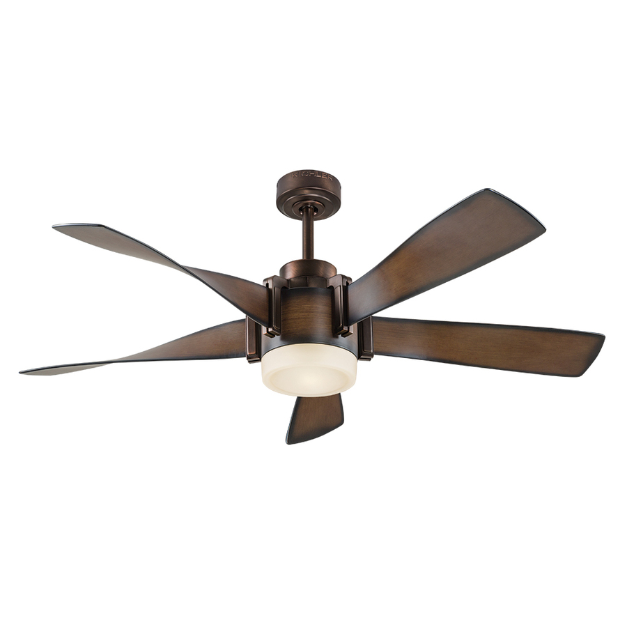 ceiling fans with lighting kichler 52-in mediterranean walnut with bronze accents led indoor downrod mount DCGVMKS