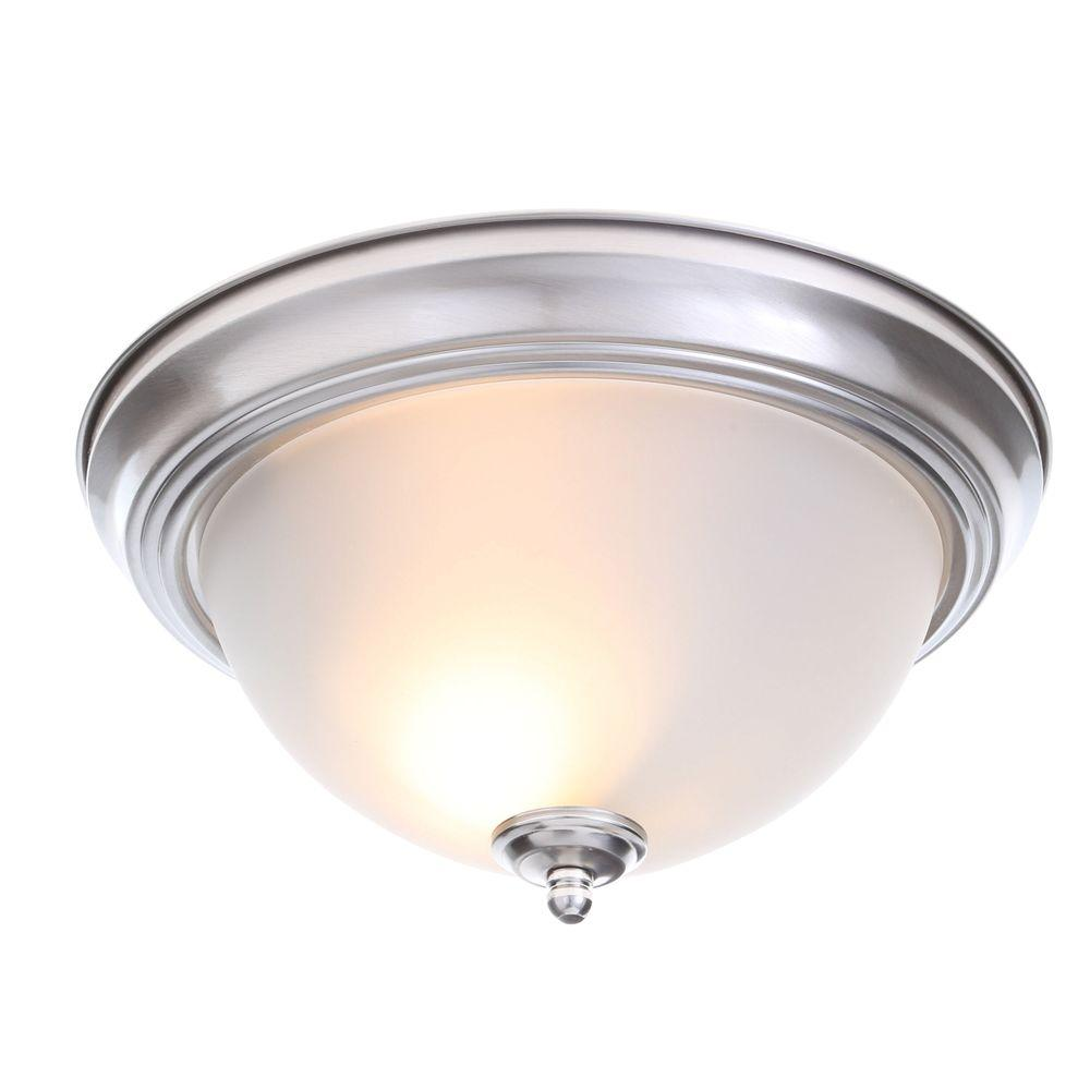 Ceiling lights, 2-lamp brushed nickel, flush-mounted with a frosted glass shade (MNXOQZD