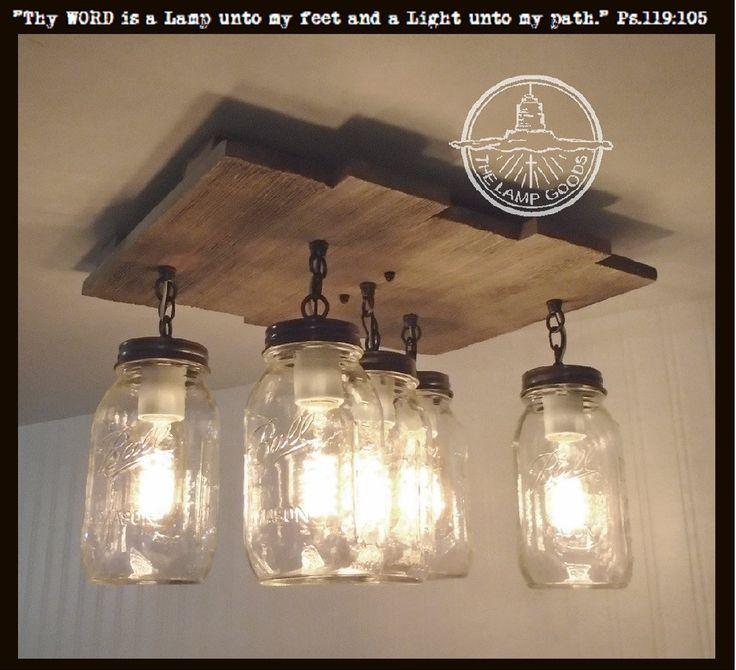 Ceiling lights mason jar ceiling light with reclaimed wood ULTMFIE