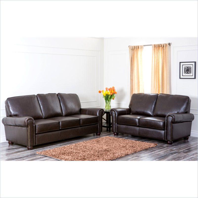 ch-1918-brn-3-2 abbyson newcastle top grained leather sofa & two-seat sofa PHJDLUN