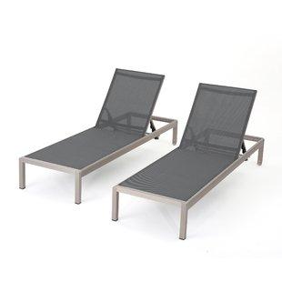 Chaise Longue Outdoor Lacon Mesh Chaise Longue Set (Set of 2) NSQMTAQ