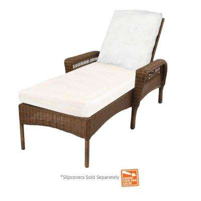 Chaise Longue Outdoor Spring Haven Brown Wicker Patio Chaise Longue with Cushions Included, Select UHNWHHM