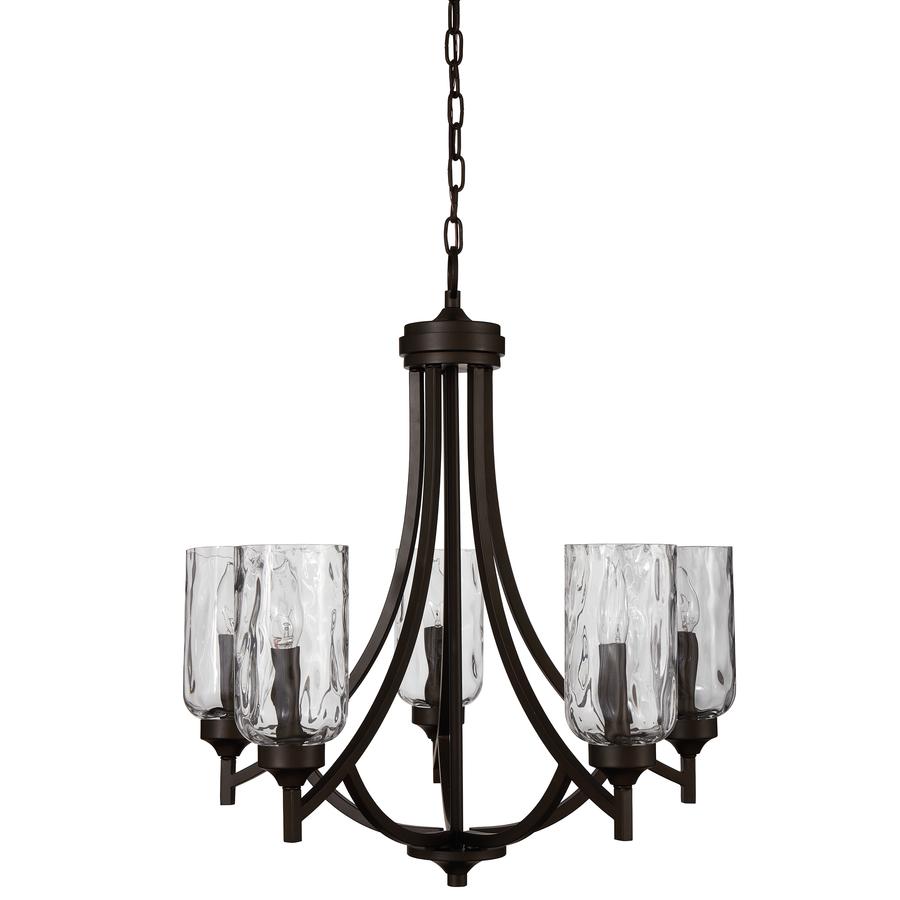 Chandelier Allen + Roth Latchbury 23.73-inch 5-Light Aged Bronze Artisan Textured Glass VCZWDTD